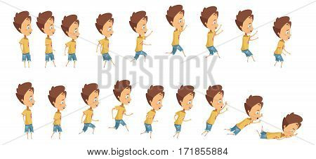Animation with frame sequence when jumping running and falling of boy cartoon style isolated vector illustration