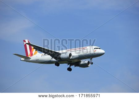 Amsterdam the Netherlands - July 21st 2016: D-AKNO Germanwings Airbus A319 approaching Polderbaan runway at Schiphol Amsterdam Airport arriving from stuttgard Germany