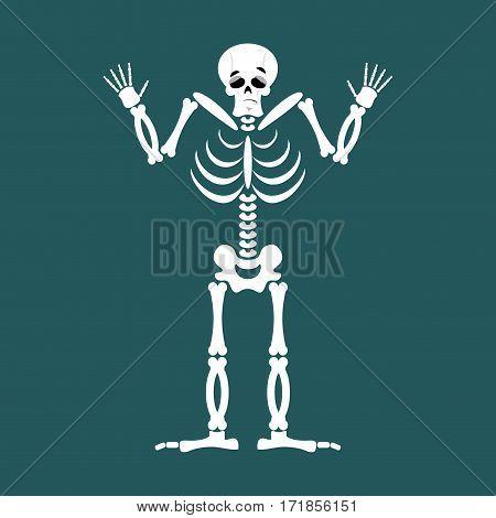 Skeleton Surprised Emoji. Skull Astonished Emotion Isolated. Human Bones