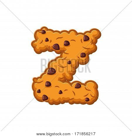 Z Letter Cookies. Cookie Font. Oatmeal Biscuit Alphabet Symbol. Food Sign Abc