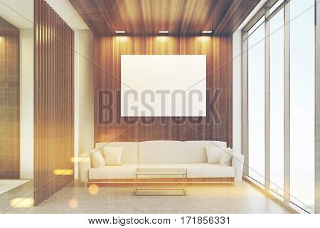 Luxury office waiting room with dark wooden decoration elements panoramic window and a large comfortable sofa with cushions. 3d rendering. Mock up. Toned image