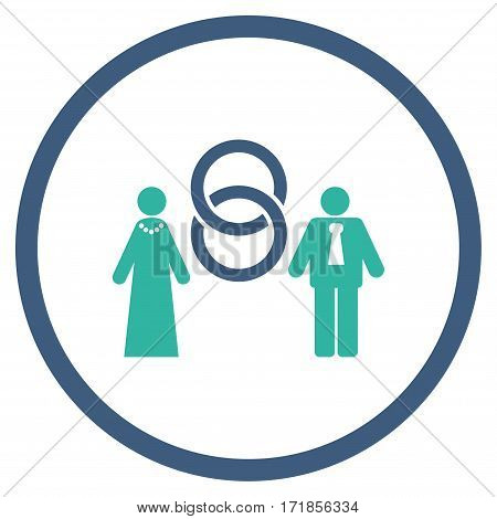 Marriage Persons rounded icon. Vector illustration style is flat iconic bicolor symbol inside circle cobalt and cyan colors white background.