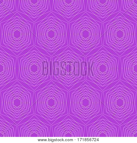 Modern hexagonal patterns. Hexagonal fine patterns in trendy purple. Seamless vector hexagonal patterns. Silver hexagonal patterns on vivid purple background.