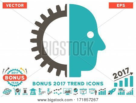 Grey And Cyan Cyborg Head pictograph with bonus 2017 trend clip art. Vector illustration style is flat iconic bicolor symbols white background.