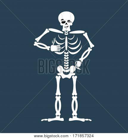 Skeleton Thumbs Up Emoji. Skull Winks Emotion Isolated. Human Bones