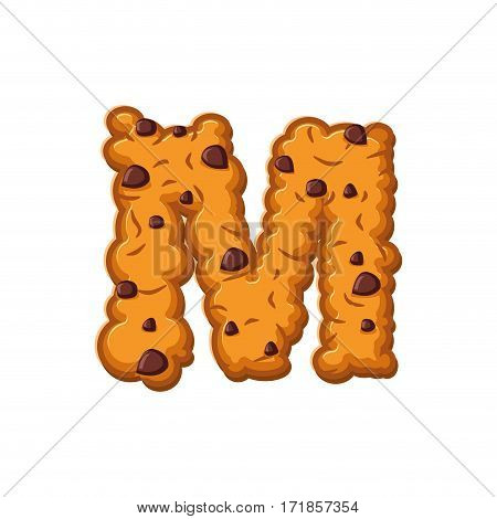 M Letter Cookies. Cookie Font. Oatmeal Biscuit Alphabet Symbol. Food Sign Abc