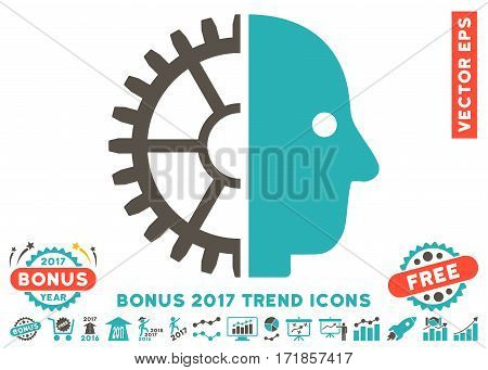 Grey And Cyan Cyborg Head pictogram with bonus 2017 trend pictures. Vector illustration style is flat iconic bicolor symbols white background.