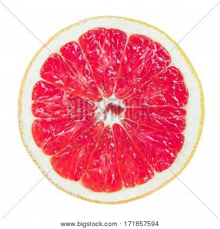 Isolation Of A Sliced Fresh Grapefruit On A White Background