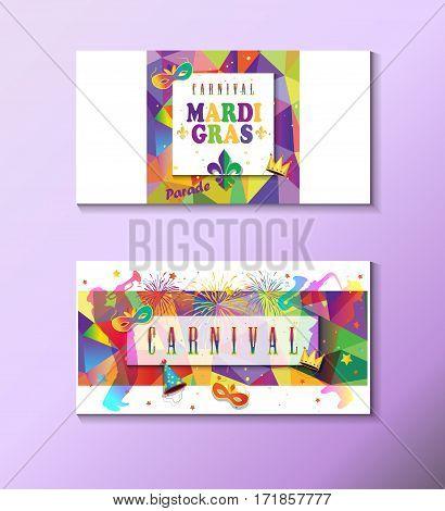 Set Mardi Gras Carnival, Music Festival, Masquerade poster, invitation design. Funfair, parade funny tickets, banners design with confetti, musicians, carnival mask, crown, fleur de lis symbols