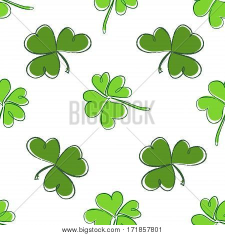 Clover Seamless Pattern. Clover Pattern With Three And Four Leaf. St. Patrick's Day Hand-drawn Chaot