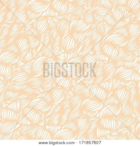 Vector Seamless Wave Doodle Hand Drawn Pattern In Light Warm Colors. Can Be Used For Wallpaper, Patt