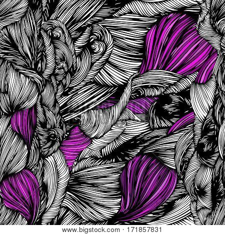 Vector Seamless Wave Doodle Hand Drawn Pattern Black And White With Purple Colors. Can Be Used For W
