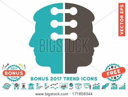 Grey And Cyan Dual Head Interface pictograph with bonus 2017 trend icon set. Vector illustration style is flat iconic bicolor symbols white background.