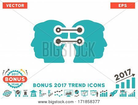 Grey And Cyan Dual Heads Interface Connection icon with bonus 2017 year trend elements. Vector illustration style is flat iconic bicolor symbols white background.