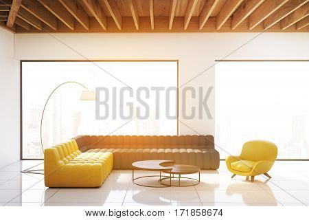 Living Room With Panoramic Windows, Toned