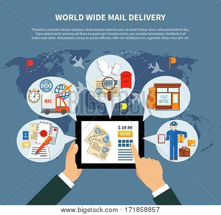 Postal services online design with clouds and icons around mobile device and hands world map vector illustration