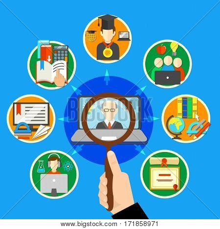 Searching e learning composition with mini isolated round on learning theme and search better courses vector illustration