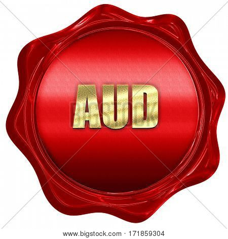 aud, australian dollar, 3D rendering, red wax stamp with text