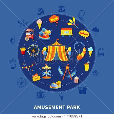Amusement park presentation layout with big top attractions and food abstract isolated vector illustration