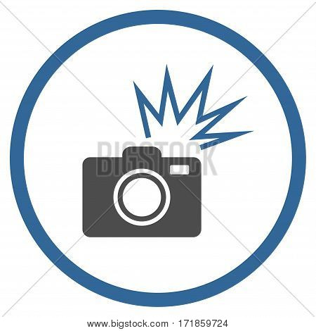 Camera Flash rounded icon. Vector illustration style is flat iconic bicolor symbol inside circle cobalt and gray colors white background.