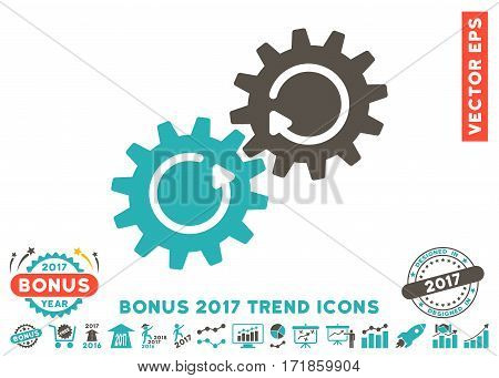 Grey And Cyan Gear Mechanism Rotation pictograph with bonus 2017 trend images. Vector illustration style is flat iconic bicolor symbols white background.