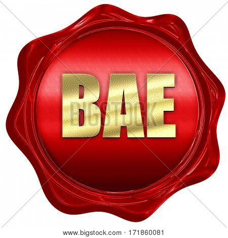 bae, 3D rendering, red wax stamp with text
