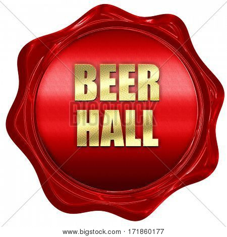 beer hall, 3D rendering, red wax stamp with text