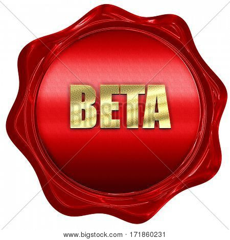 beta, 3D rendering, red wax stamp with text