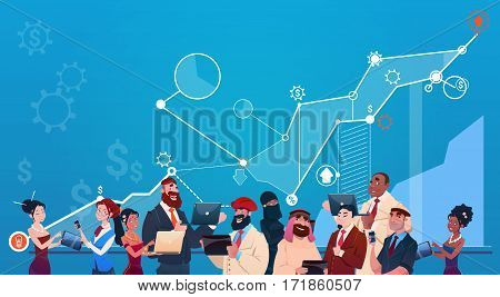 Mix Race Business People Group Using Gadgets Finance Graph Financial Success Concept Flat Vector Illustration