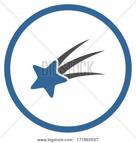 Falling Star rounded icon. Vector illustration style is flat iconic bicolor symbol inside circle cobalt and gray colors white background.