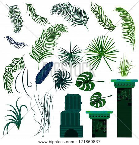 Jungle leaves and old ruin columns isolated objects. Rainforest vector plants and green palms.