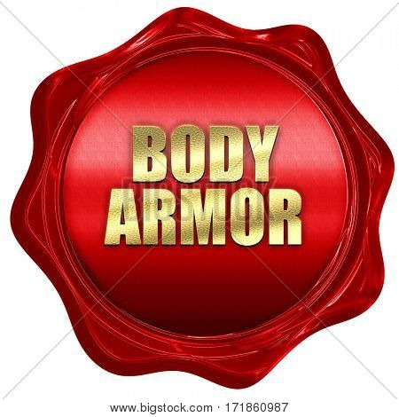 body armor, 3D rendering, red wax stamp with text