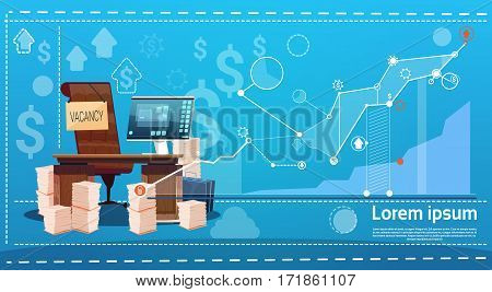 Empty Office Workplace Vacancy Search Employee Position Flat Vector Illustration