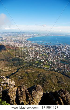 In South Africa Cape Town City Skyline From Table Mountain