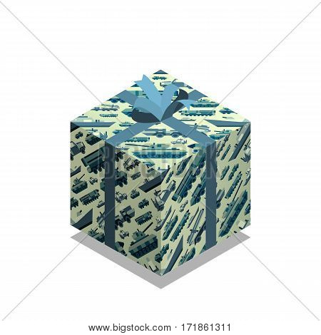 Gift box with pattern and bow knot of military machines for 23 ot february. Present for day of defenders of fatherland. Isometric flat style. Vector illustration art.