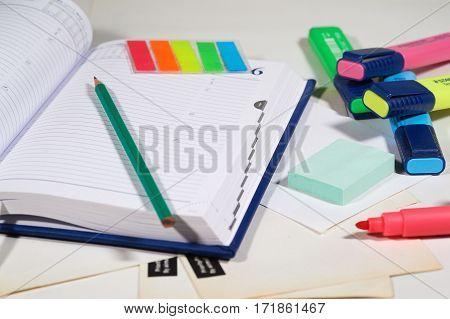 Personal organizer sticky notes and felt pens