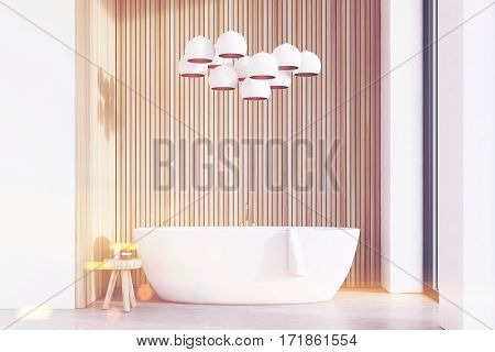Bathroom With Lamps, Light Wood, Toned