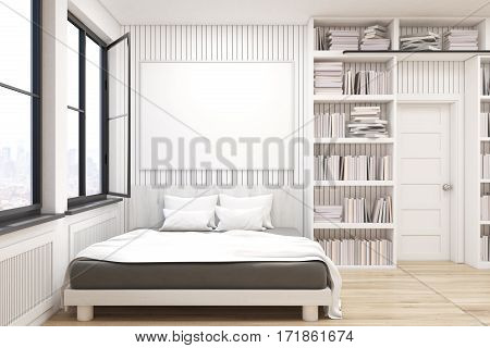Home library with bookshelves by the sides of a door and a large bed. There is a horizontal poster hanging above it. 3d rendering. Mock up.