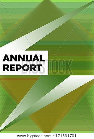 Annual report cover template with abstract geometric green shape