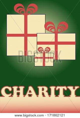 Christmas charity flyer with simple boxes red ribbons and charity inscription. Vector drawing template on green background.