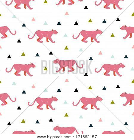 Pink panther animal seamless vector pattern. Cute baby animal tileable print for textile.