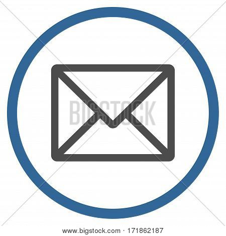 Letter rounded icon. Vector illustration style is flat iconic bicolor symbol inside circle cobalt and gray colors white background.