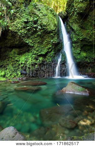 Waterfalls on Dominica Island in the Caribbean. Jacko Falls.