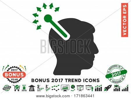 Green And Gray Optical Neural Interface icon with bonus 2017 trend pictograms. Vector illustration style is flat iconic bicolor symbols white background.