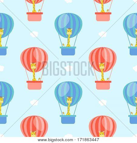 children's cartoon giraffe pattern with flying clouds ball sky vector illustration