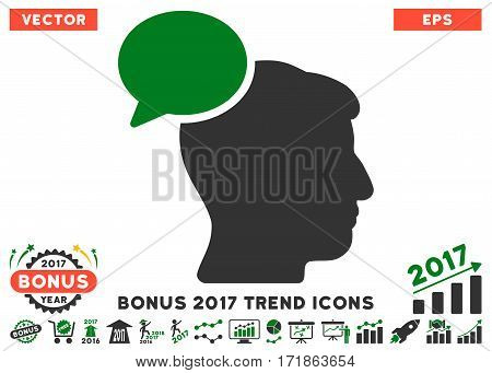 Green And Gray Person Idea icon with bonus 2017 trend design elements. Vector illustration style is flat iconic bicolor symbols white background.