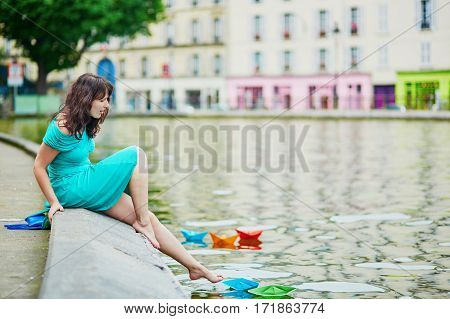 Cheerful Young French Woman Having Fun On Saint-martin Canal