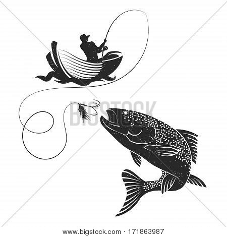 Fisherman catches of salmon on a boat silhouette