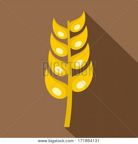 Ripe spica icon. Flat illustration of ripe spica vector icon for web