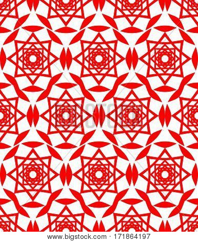 Red folklore patterns. Classical seamless textile patterns on white background. Abstract geometric patterned seamless background. Symmetric star patterns.